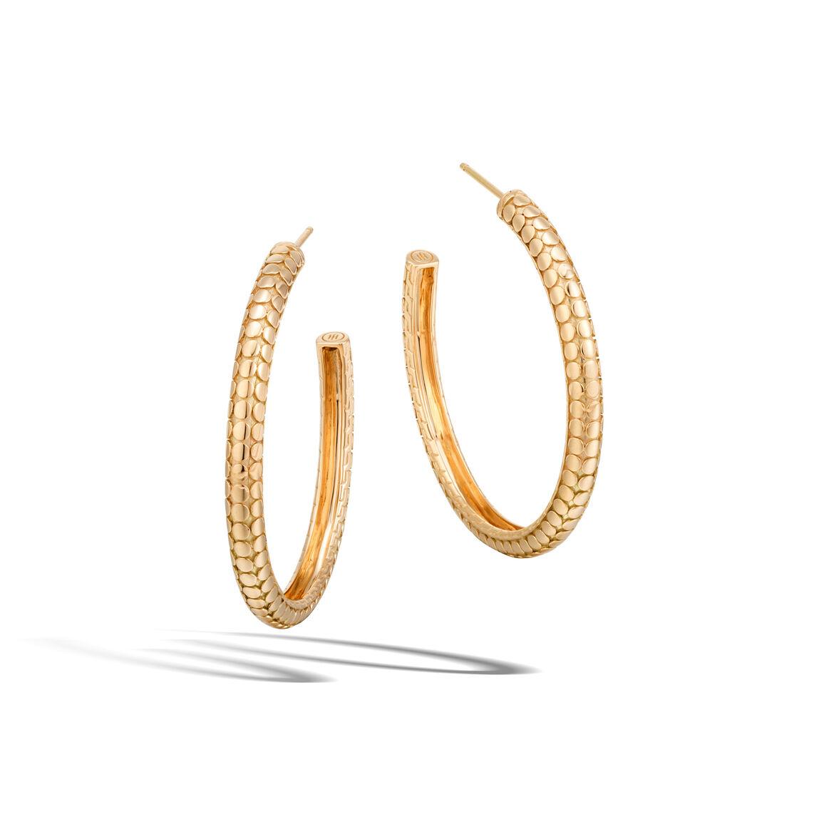 Dot Medium Hoop Earring in 18K Gold