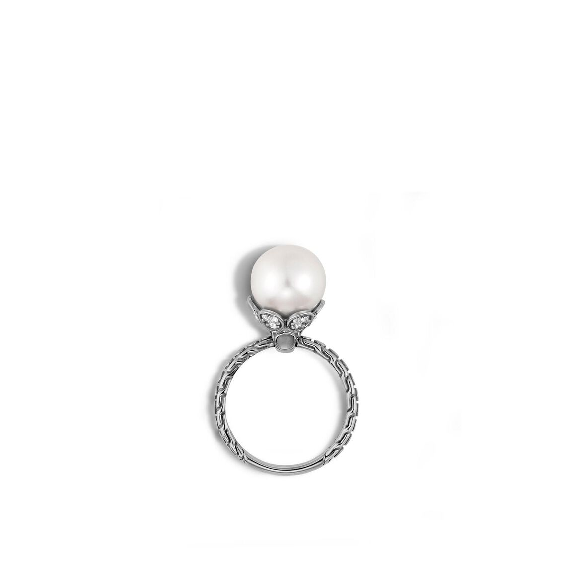Dot Charm Ring in Silver with 10MM Pearl and Diamonds