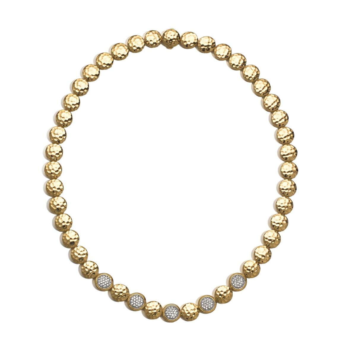 Dot 10MM Link Necklace in Hammered 18K Gold with Diamonds