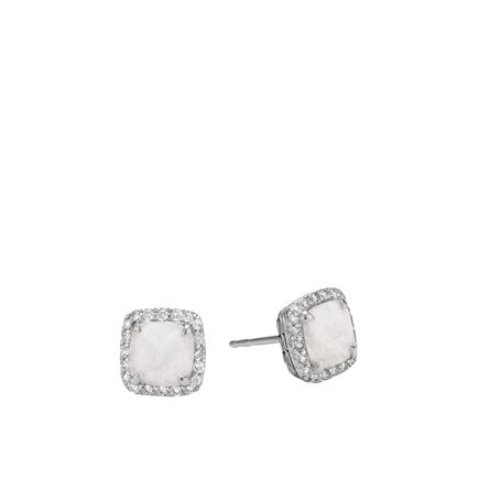 Classic Chain Magic Cut Stud Earring, Silver, Gems, Diamonds