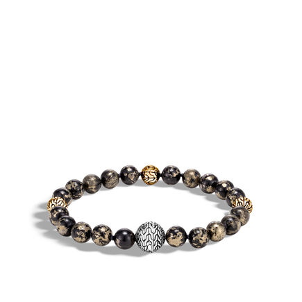 Classic Chain Bead Bracelet in Silver and 18K Gold with Gems