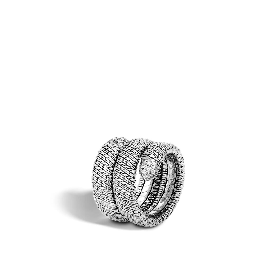 Classic Chain Coil Ring in Silver with Diamonds