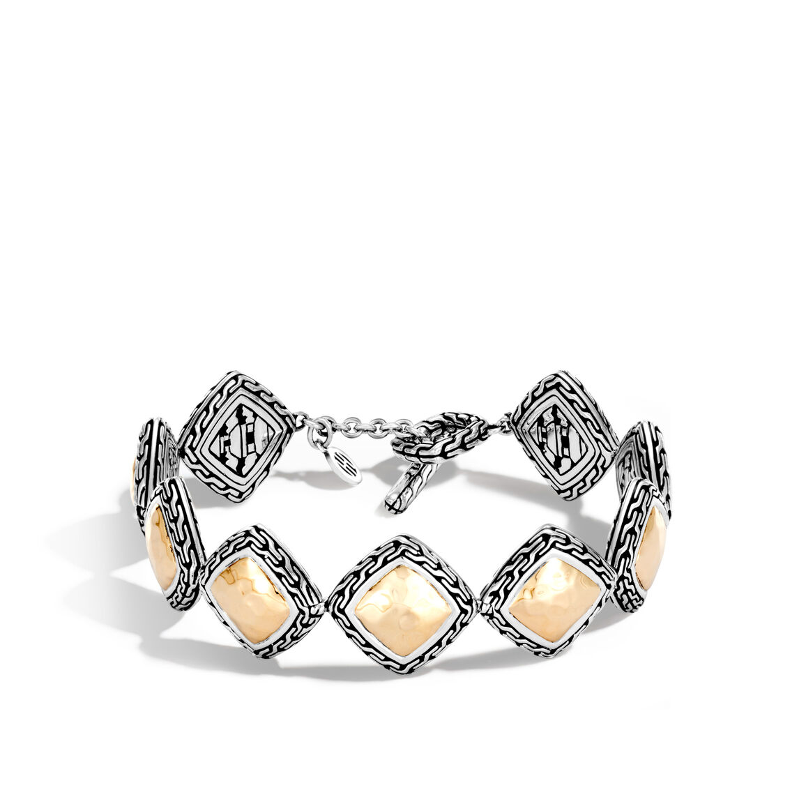 Classic Chain Link Bracelet in Silver and  Hammered 18K Gold