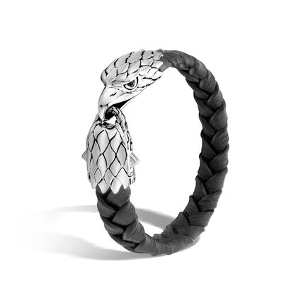 Legends Eagle 12MM Station Bracelet in Silver and Leather