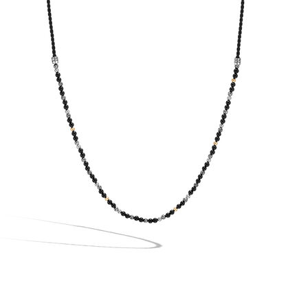 Classic Chain Bead Necklace in Silver, 18K Gold, Gems