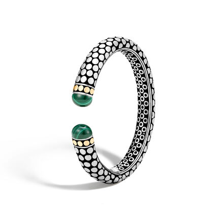 Dot 11MM Kick Cuff in Silver and 18K Gold with Gemstone