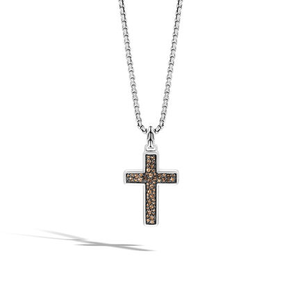 Classic Chain Cross Necklace with Smoky Quartz