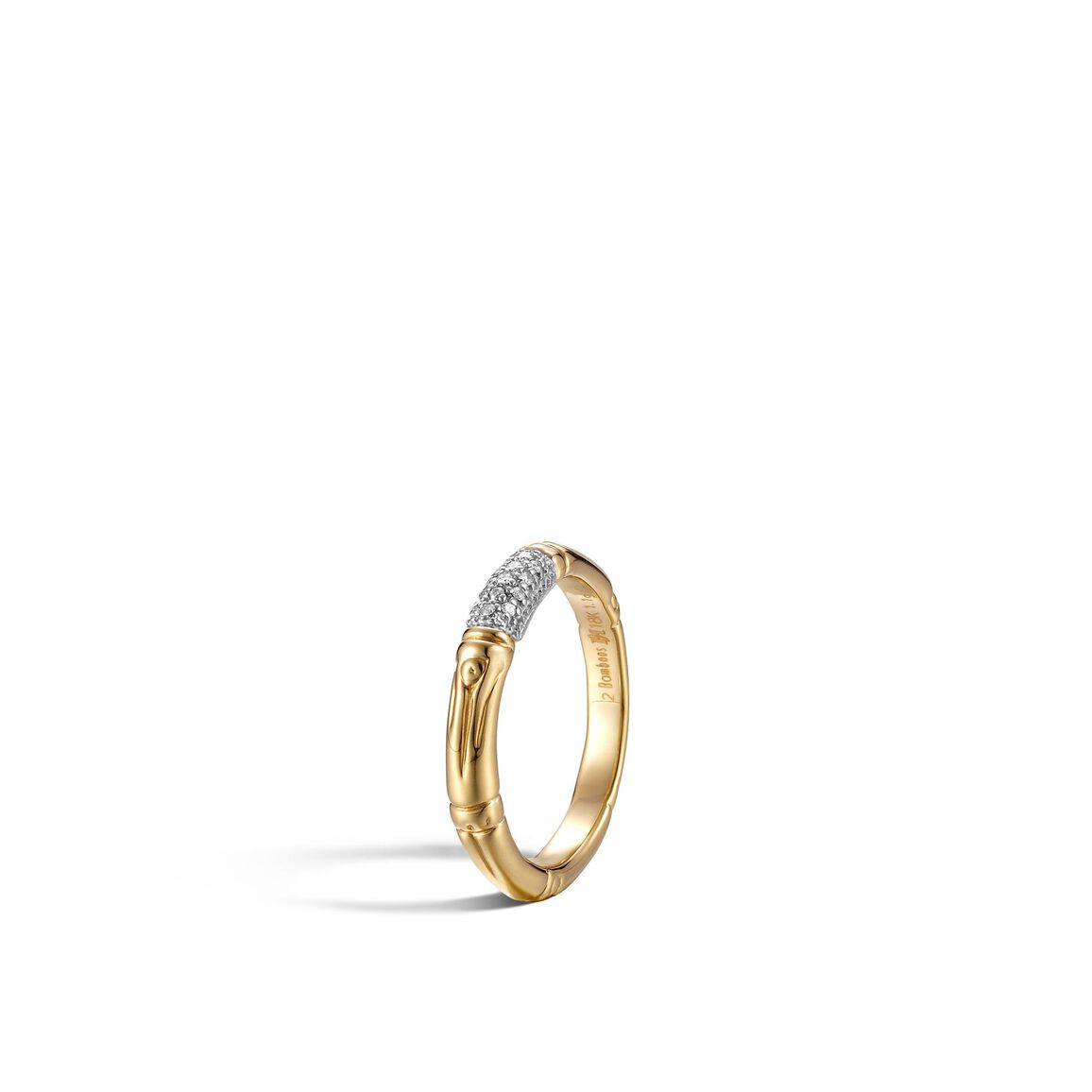 Bamboo 3.5MM Band Ring in 18K Gold with Diamonds
