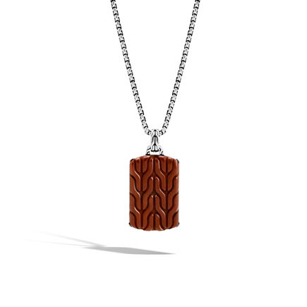 Classic Chain Large Dog Tag Necklace with Red Jasper