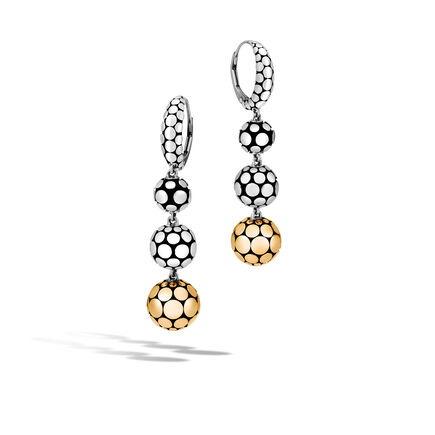 Dot Triple Drop Earring in Silver and 18K Gold