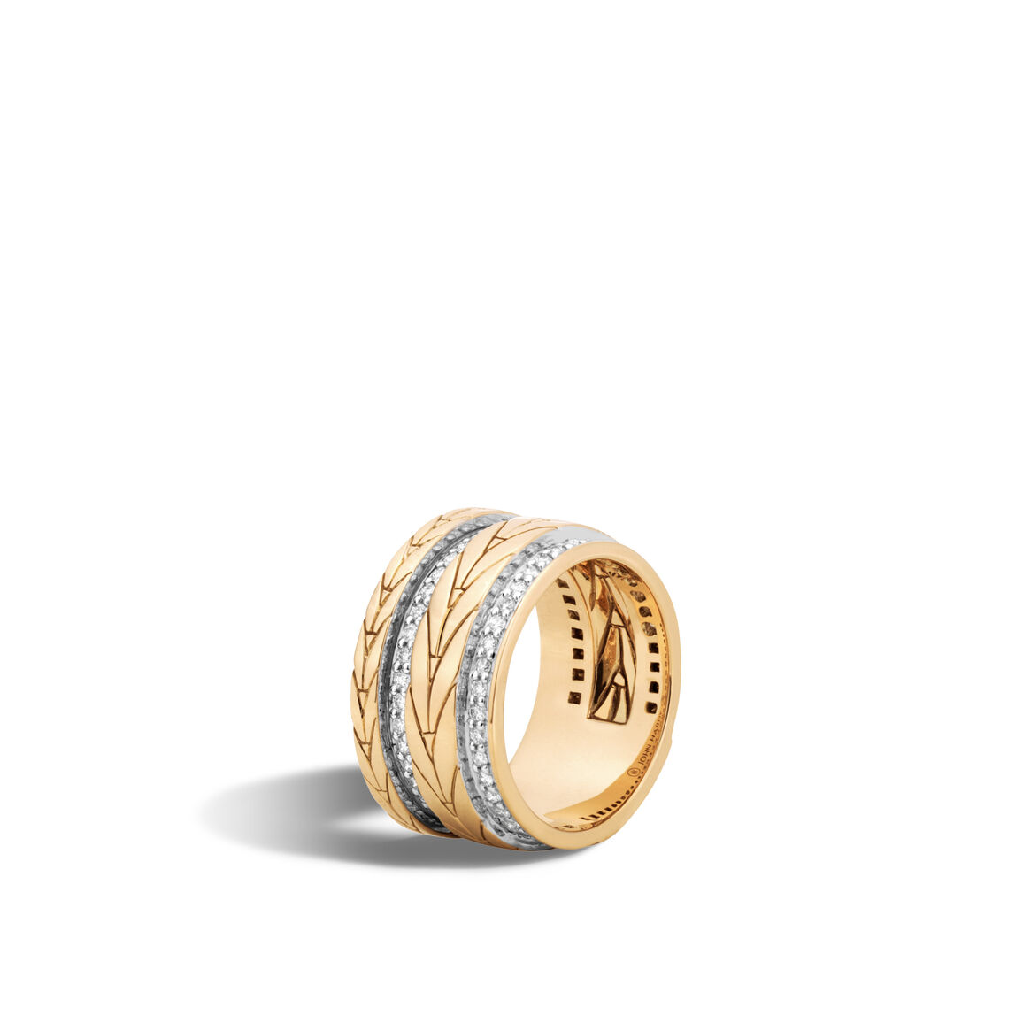 Modern Chain 11MM Band Ring in 18K Gold with Diamonds