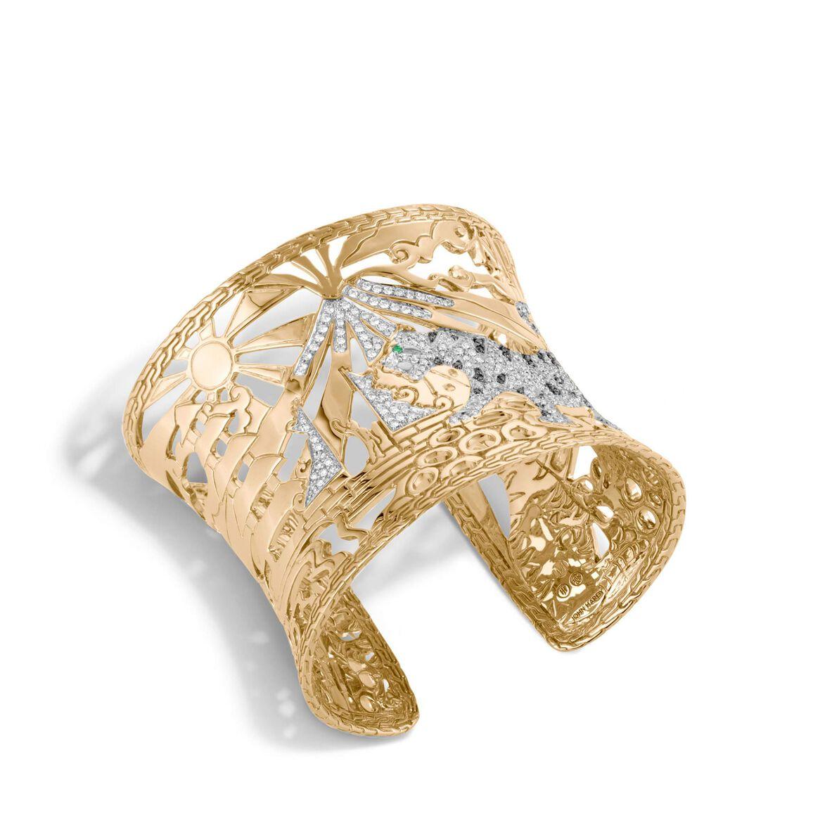 Legends Macan 72.5MM Cuff in 18K Gold with Diamonds
