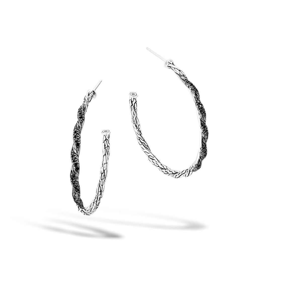 Twisted Chain Medium Hoop Earring in Silver with Gemstone