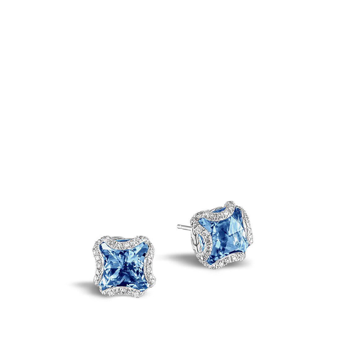 Classic Chain Stud Earring,Silver, 10MM Gemstone, Diamonds