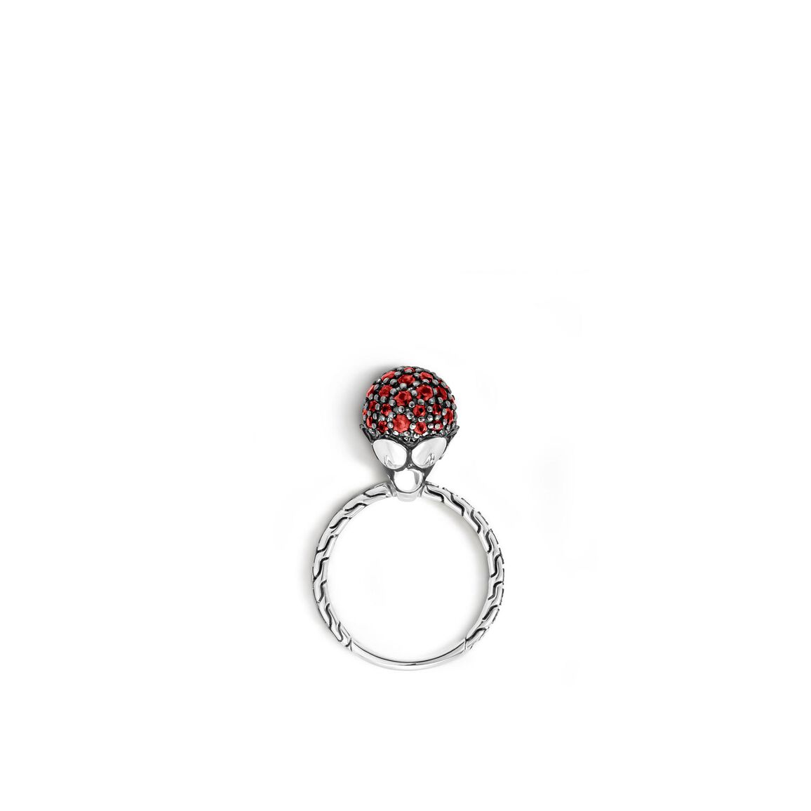 Dot Charm Ring in Silver with Gemstone