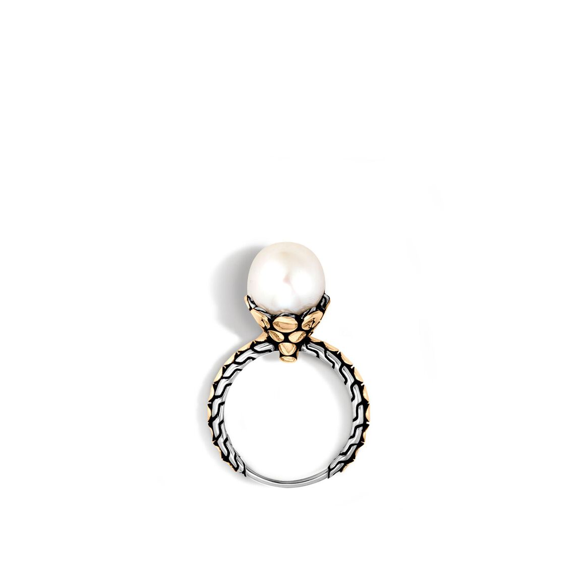 Dot Charm Ring in Silver and 18K Gold with 11MM Pearl