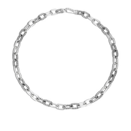 Classic Chain 12MM Link Necklace in Silver