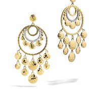 John Hardy - Dot Chandelier Earring in Hammered 18K Gold with Diamonds