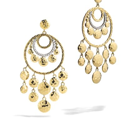 Dot Chandelier Earring in Hammered 18K Gold with Diamonds