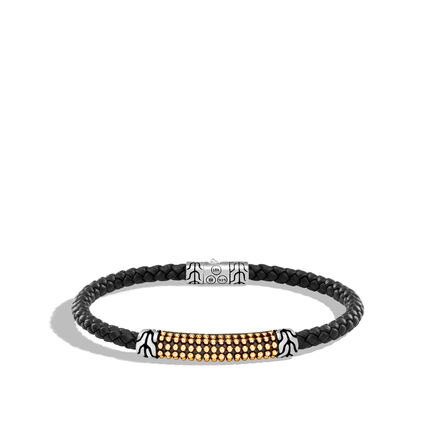 Chain Jawan 4MM Station Bracelet, Silver, 18K Gold, Leather