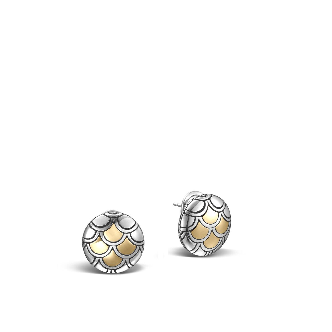 Legends Naga Button Earring in Silver and 18K Gold