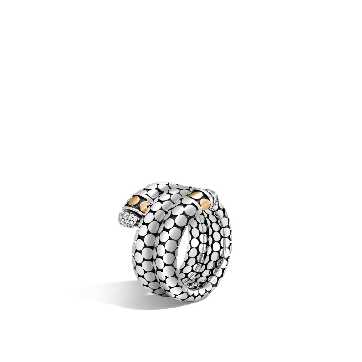 Dot Double Coil Ring in Silver and 18K Gold with Diamonds