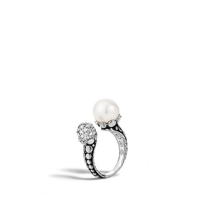 Dot Ring in Silver with 11MM Pearl and Diamonds