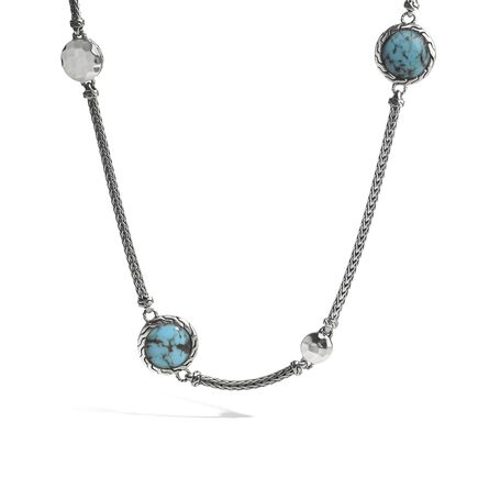 Hammered Station Necklace with Turquoise