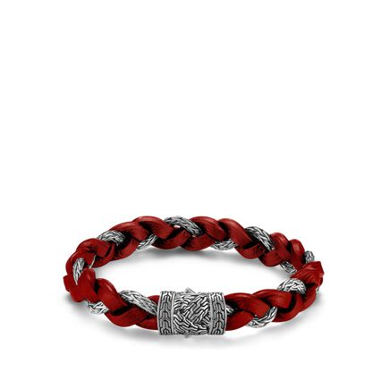 Braided Chain 12MM Bracelet in Silver and Leather