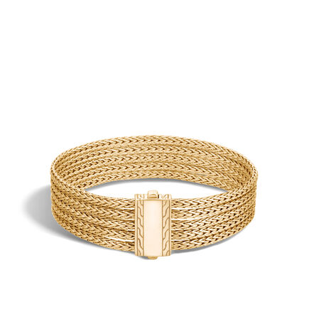Classic Chain 12MM Five Rows Bracelet in 18K Gold