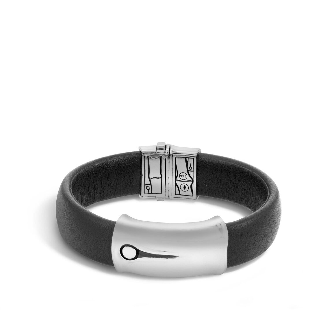 Bamboo 15MM Station Bracelet in Silver and Leather