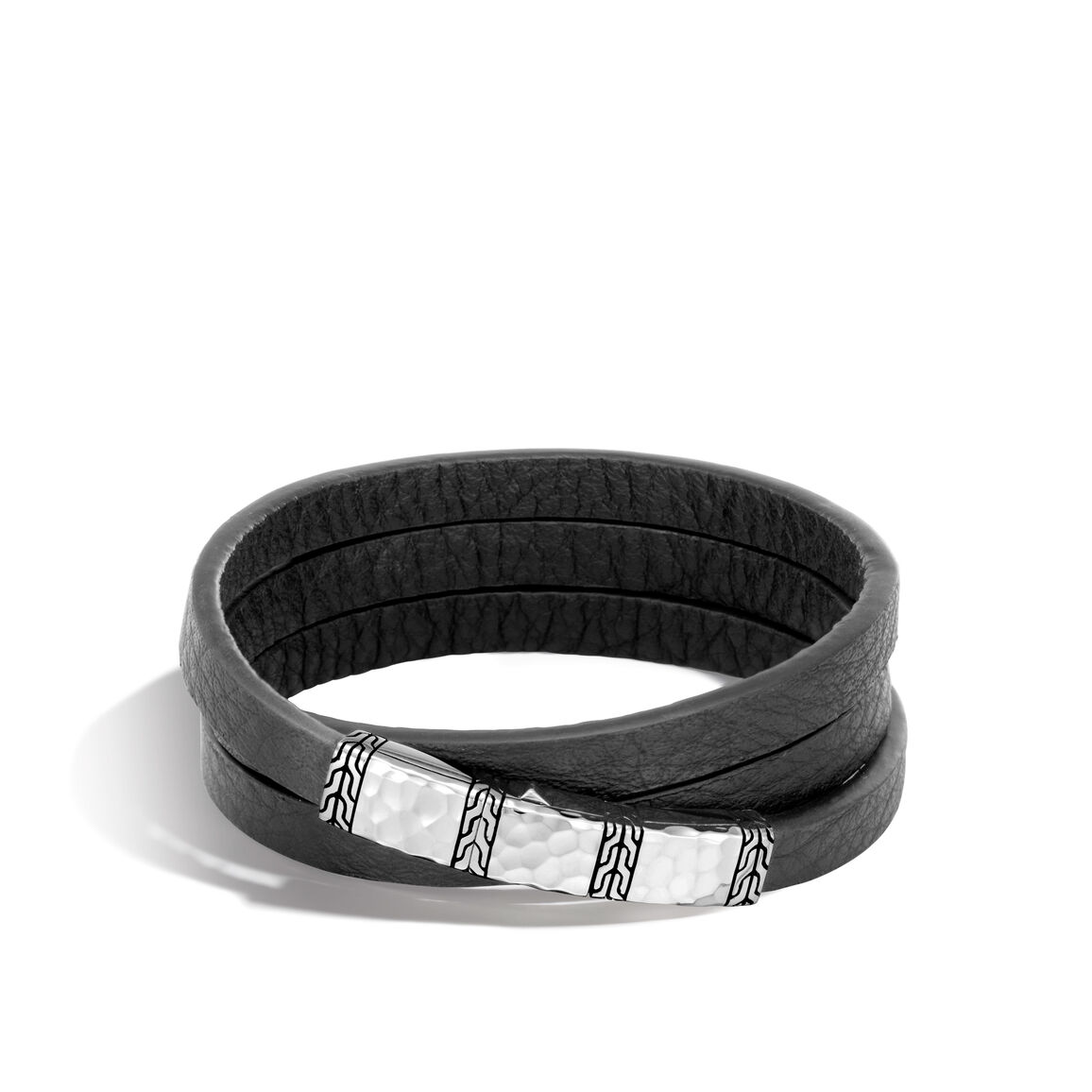 Classic Chain 6.5MM Wrap Bracelet, Hammered Silver, Leather