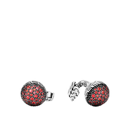 Classic Chain Silver Lava Cufflinks with Gemstone