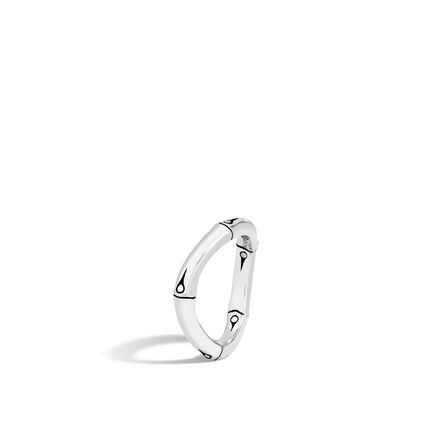 Bamboo 4MM Curved Band Ring in Silver