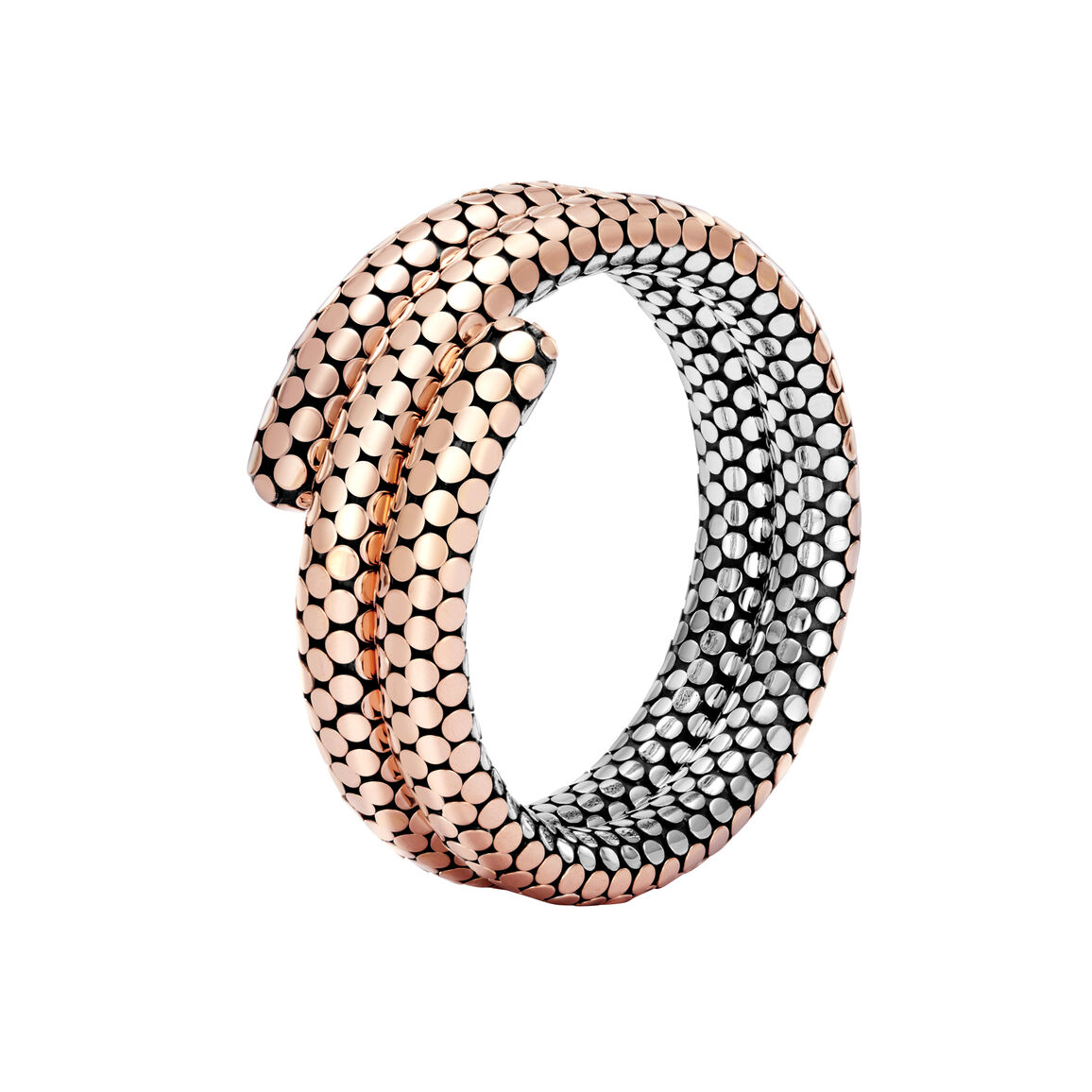 Dot Double Coil Bracelet in Silver and 18K Rose Gold