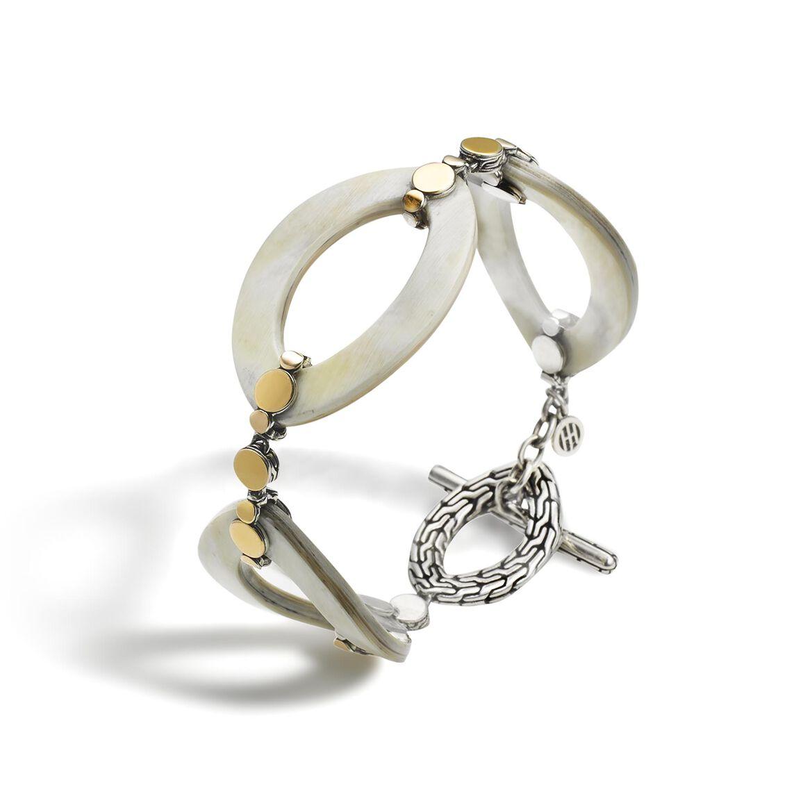 Dot 27MM Link Bracelet in Silver, 18K Gold and Horn
