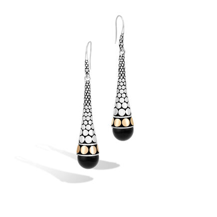 Dot Long Drop French Wire Earrings
