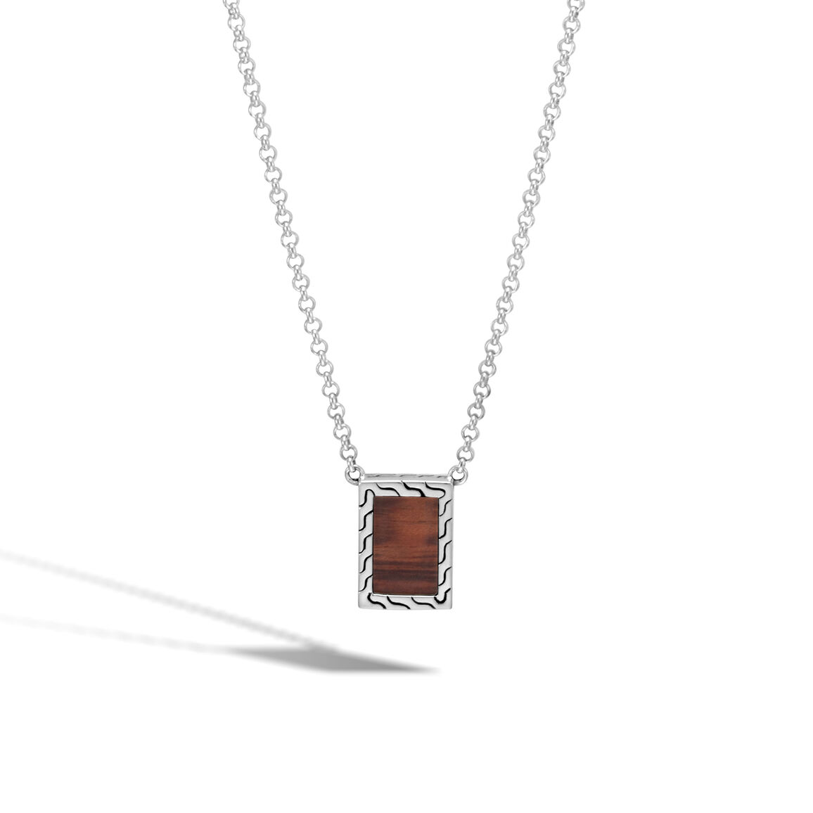 Classic Chain Pendant Necklace, Silver with Gemstone, Wood