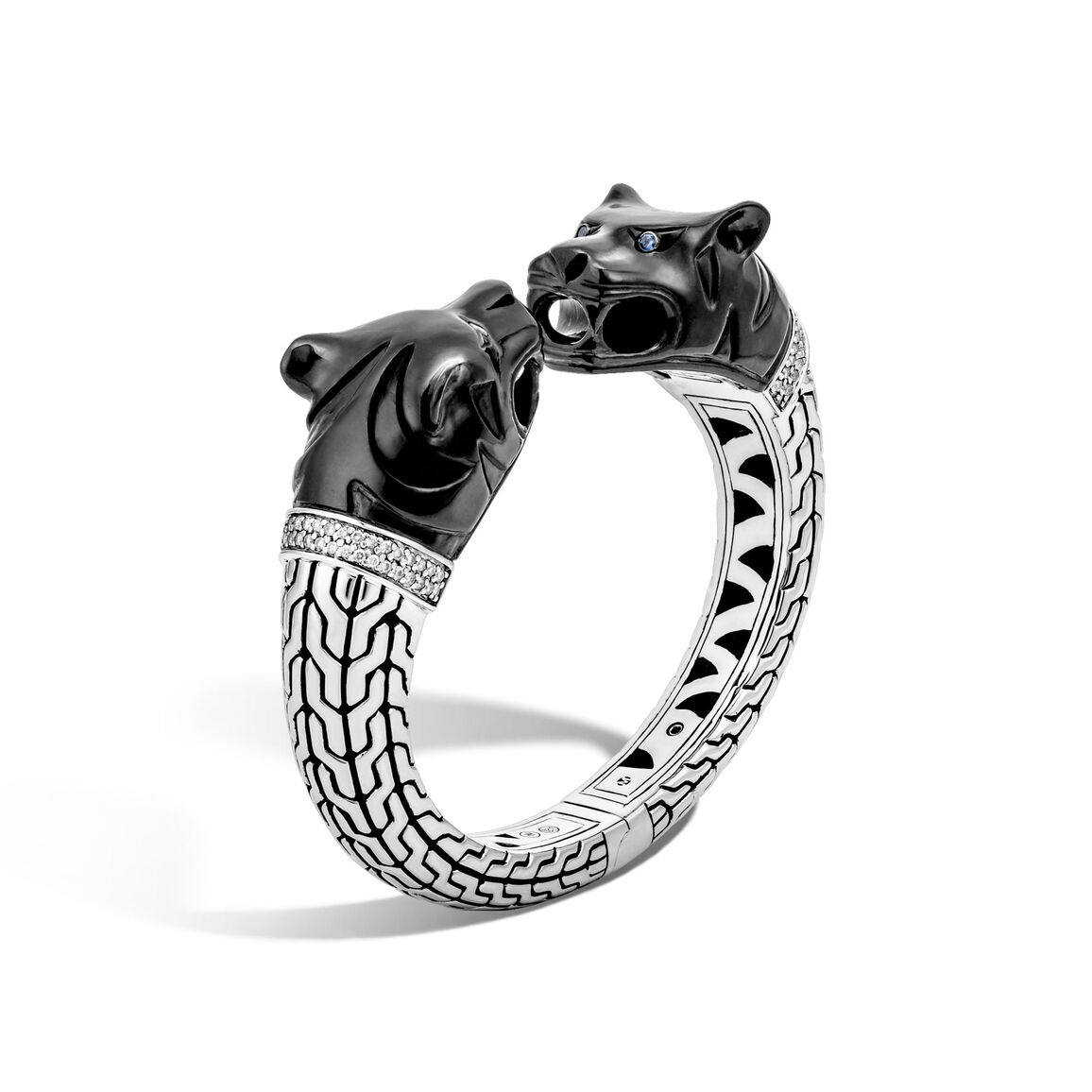 Legends Macan Double Head Kick Cuff in Silver with Diamonds