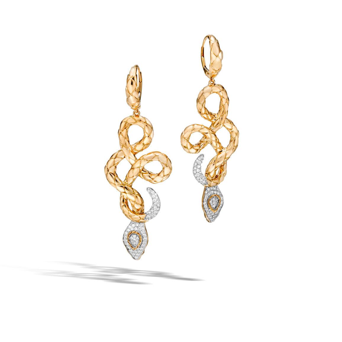 Legends Cobra Drop Earrings in 18K Gold with Diamonds