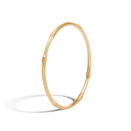 Bamboo 4MM Bangle in Brushed 18K Gold