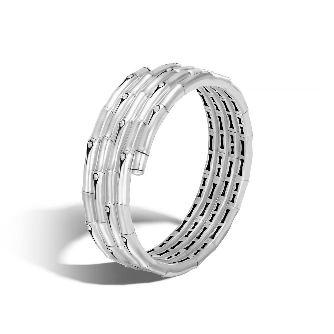 Bamboo Double Coil Bracelet in Brushed Silver