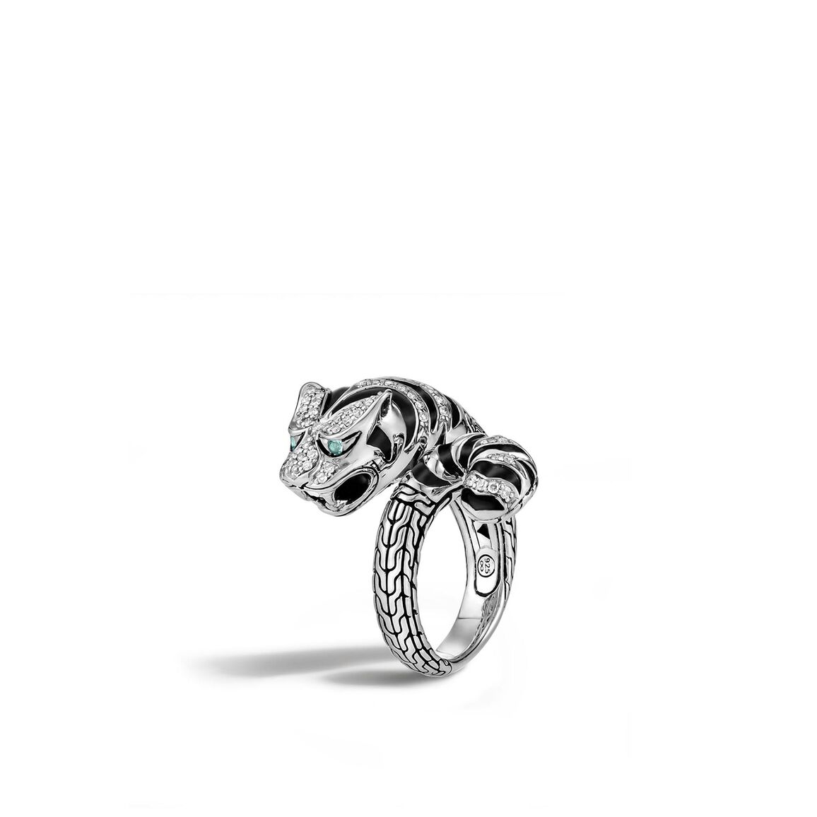 Legends Macan Bypass Ring in Silver with Diamonds