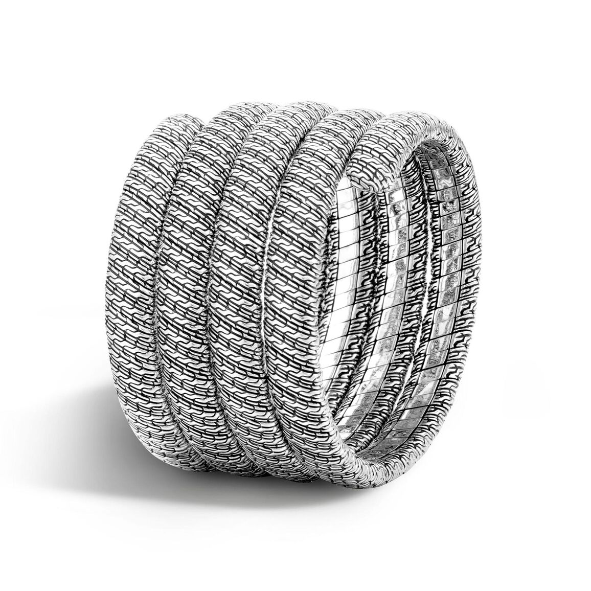 Classic Chain Multiple Coil Bracelet in Silver