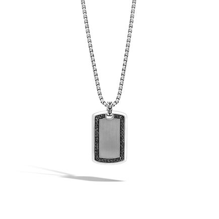Classic Chain Large Dog Tag Necklace with Black Sapphire