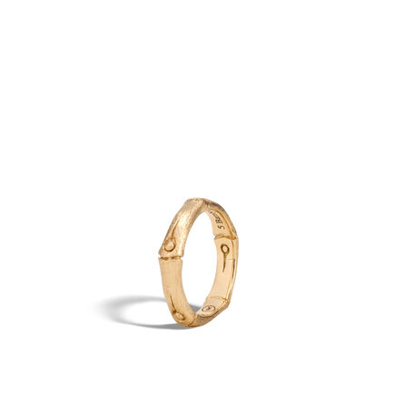 Bamboo 4.5MM Band Ring in Brushed 18K Gold