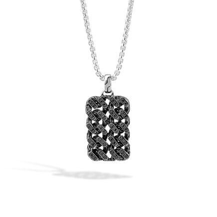 Classic Chain Dog Tag Necklace, Blackened Silver, Gemstone