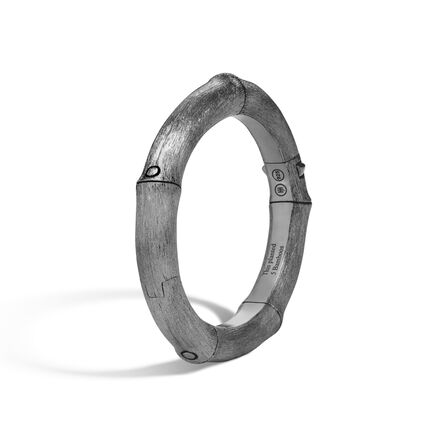 Bamboo 8MM Hinged Bangle in Blackened Brushed  Silver