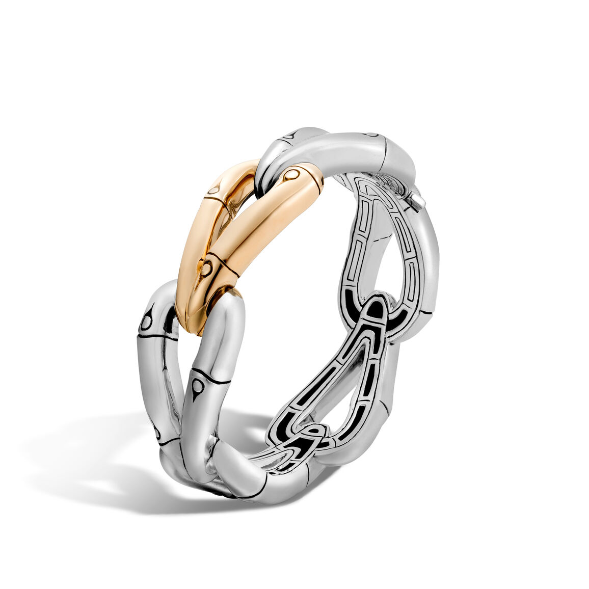 Bamboo 23MM Hinged Bangle in Silver and 18K Gold
