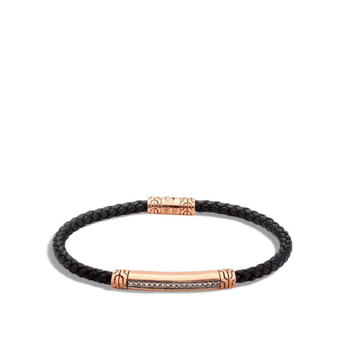 Classic Chain 4MM Bracelet, Bronze, Leather, Diamonds